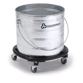 8-gallon Galvanized Round Buckets with Casters and Bumpers