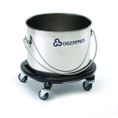 5-gallon Stainless Steel Round Bucket with Casters and Bumpers