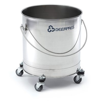 8-gallon Stainless Steel Round Bucket with 2-inch Casters