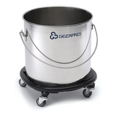 8-gallon Stainless Steel Round Bucket with Casters and Bumpers