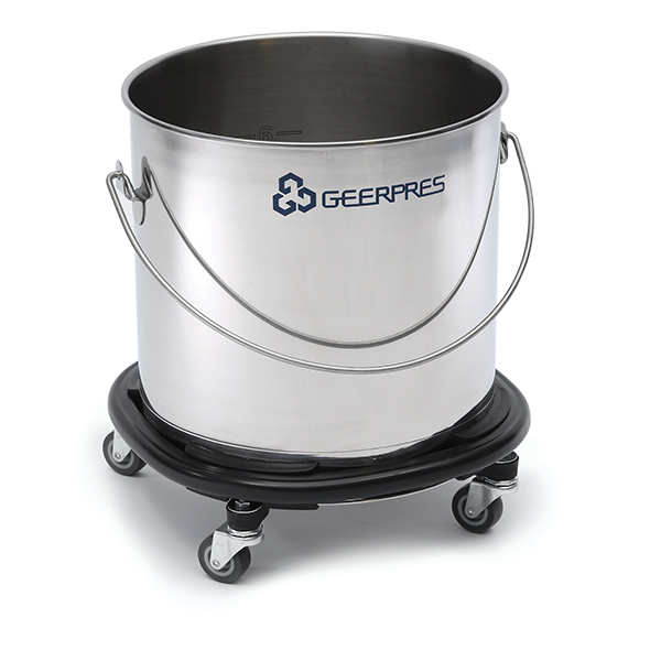 8 Gallon Stainless Steel Round Bucket With Casters Andpers