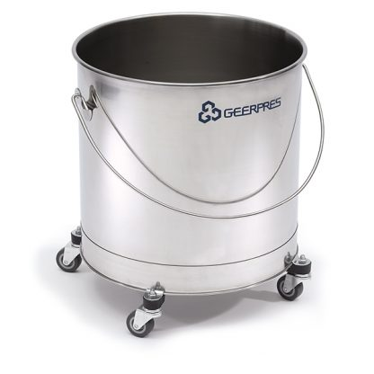 11-gallon Stainless Steel Round Bucket with Casters