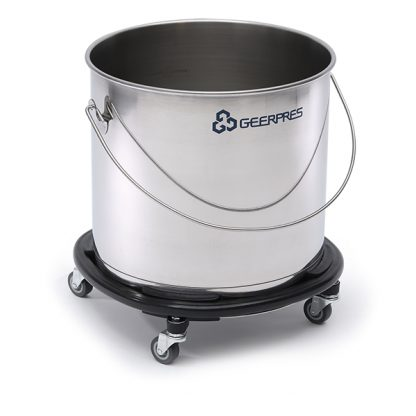 11-gallon Stainless Steel Round Bucket with Casters and Bumpers