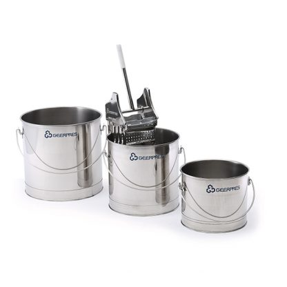 Three stainless steel buckets of different sizes and a wringer