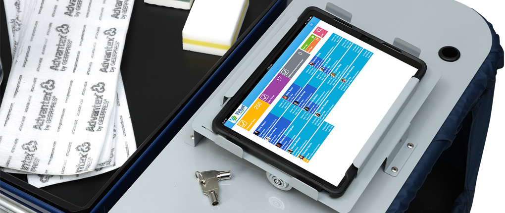 Virtual Manager on tablet secured to cart