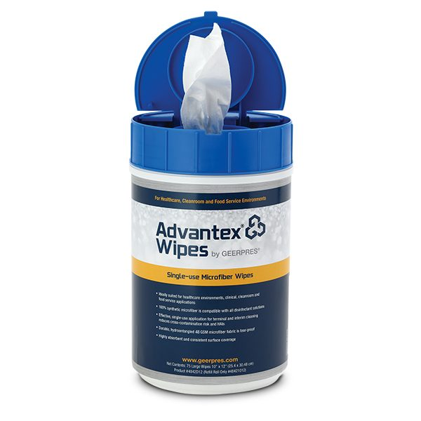 Open Container of Advantex Single-use Wipes