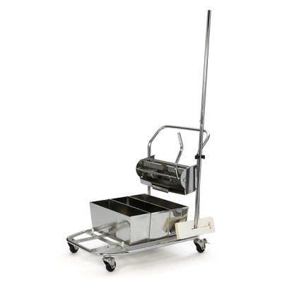 Stainless Steel Trolley w/ Flat Mop Buckets